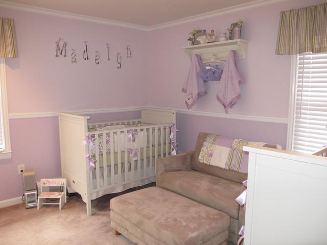 Twin Girls Nursery In Soft Lilac Traditional Kids