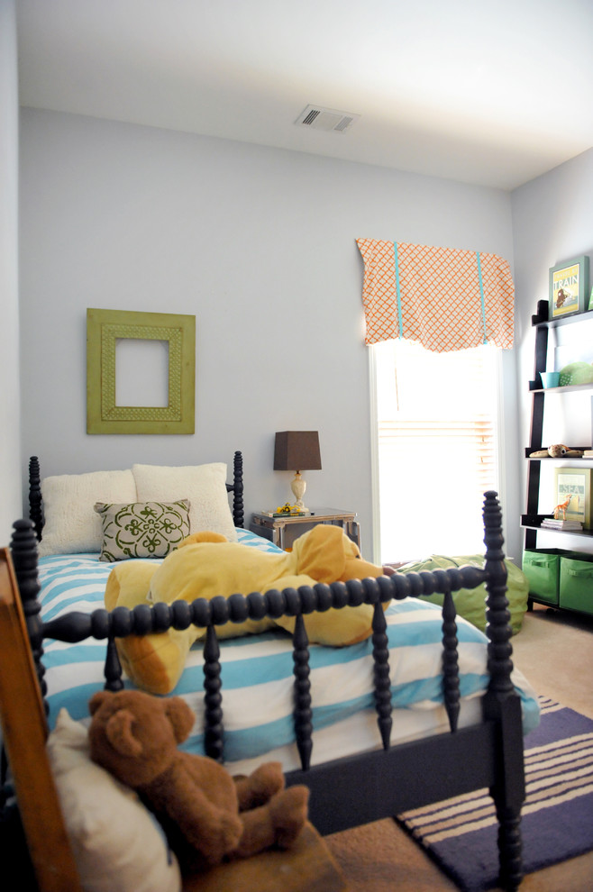 Eclectic girl carpeted kids' bedroom photo in Birmingham with gray walls