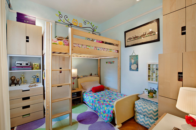Tiny Rooms two sisters, one tiny room - contemporary - kids - new york -