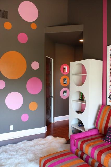 Pink, Orange & Chocolate Pre-teen Bedroom contemporary-kids