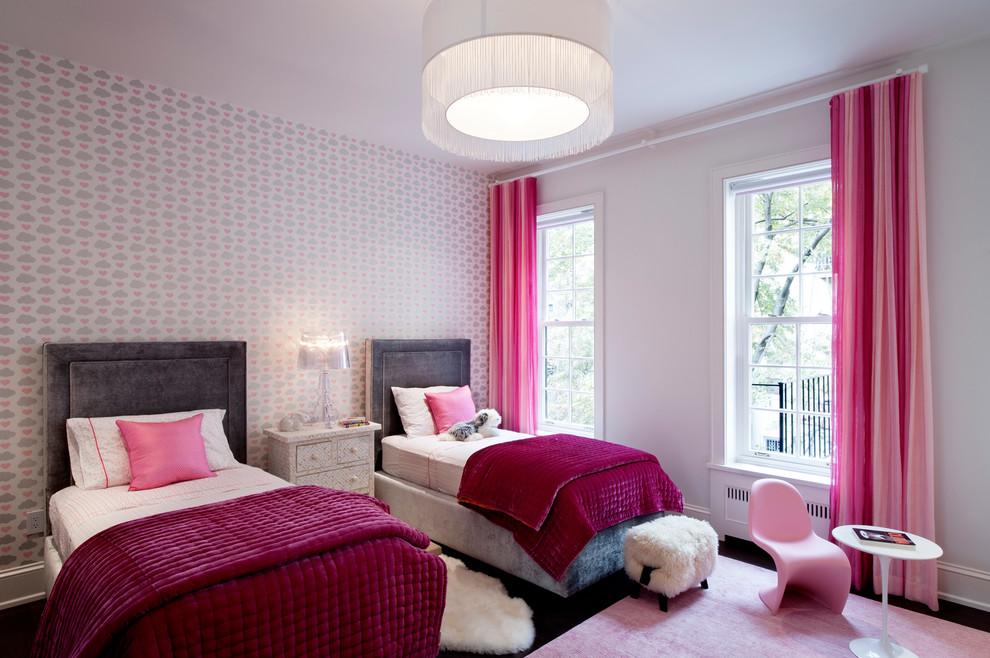 Example of a trendy girl dark wood floor kids' room design in New York with multicolored walls