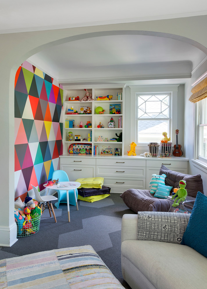Transitional gender-neutral carpeted playroom photo in Minneapolis with multicolored walls
