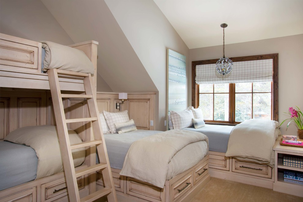 Kids' room - traditional gender-neutral carpeted kids' room idea in Denver with gray walls