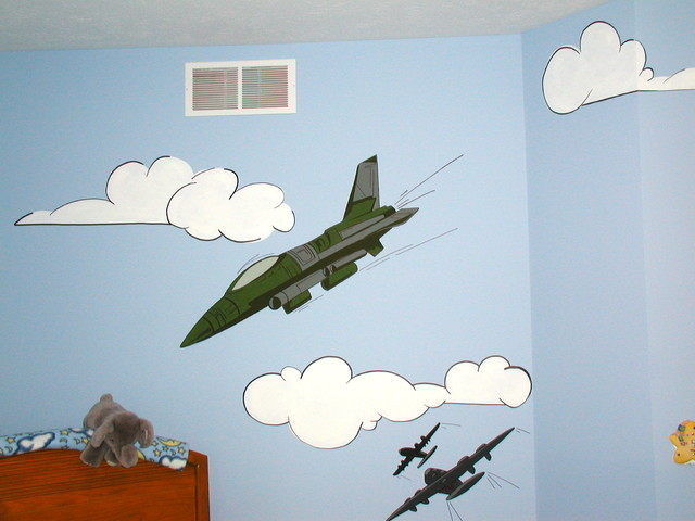 various past works, including murals, furniture, and rugs kids