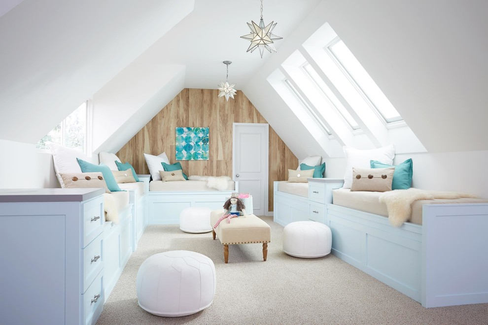 Beach style girl carpeted and beige floor kids' room photo in Portland Maine