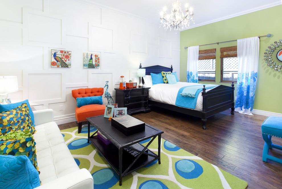 Kids' room - large mediterranean gender-neutral dark wood floor kids' room idea in San Francisco with white walls