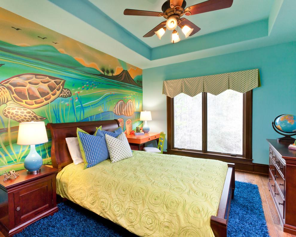 Kids' room - traditional gender-neutral medium tone wood floor kids' room idea in Dallas with multicolored walls