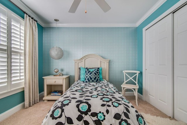 Waxhaw, NC- Teen Girls Room Teal Blue and Silver Bling ...
