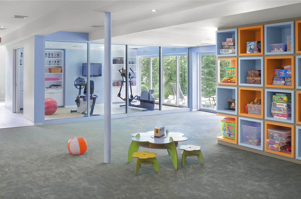 Kids' room - contemporary kids' room idea in New York with blue walls