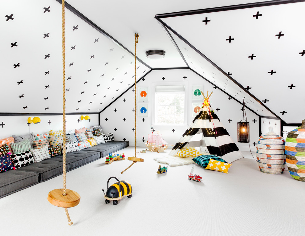 Example of a large trendy gender-neutral carpeted and white floor kids' room design in New York with white walls