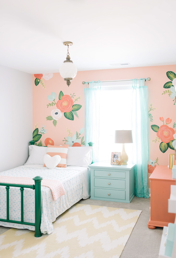 Example of a classic girl kids' bedroom design in Salt Lake City with multicolored walls