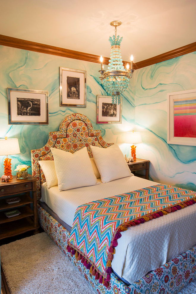 Eclectic girl kids' bedroom photo in Cleveland with blue walls