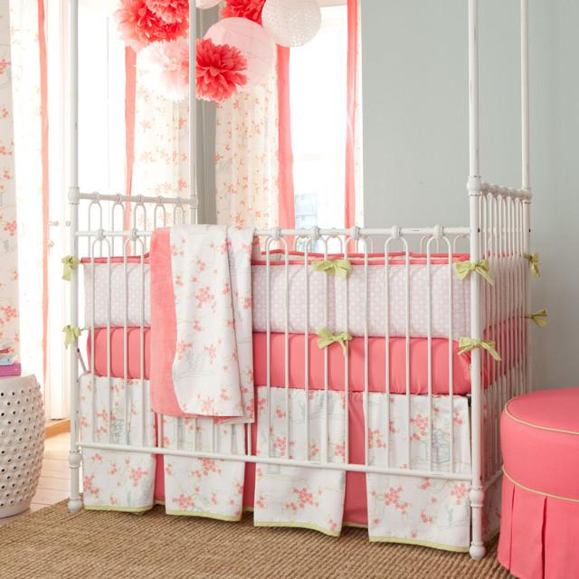 awesome Pink Minky Crib Bedding Part - 17: White Pagoda Crib Bedding traditional-kids