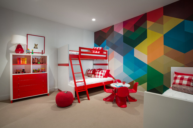 Example of a trendy gender-neutral kids' room design in Salt Lake City with multicolored walls