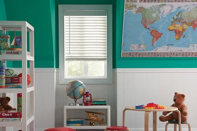 WHITE WOOD BLINDS   Lafayette Accu Rise Wood Blinds   Kids RoomModern Kids,  Denver