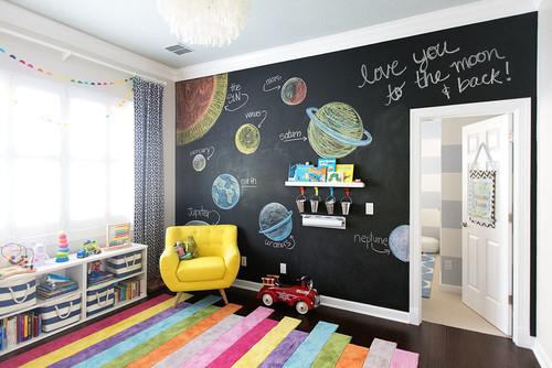 Wenn Sie Das Kinderzimmer Kreativ Streichen Wollen, Ist Tafelfarbe Eine  Super Idee. Die Hier Stetig Wechselnden Kunstwerke Verleihen Dem Raum Eine  Besonders ...
