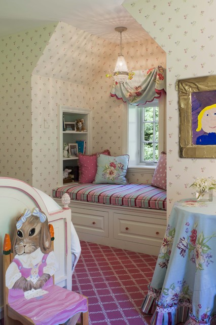 Window seat with storage girls room shabby chic style for Houzz kids room