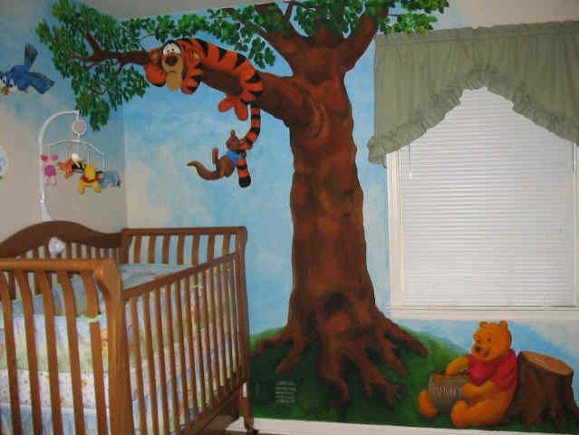 Winnie the pooh mural for Baby pooh and friends wall mural