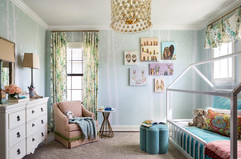Mid-sized elegant girl medium tone wood floor, brown floor and wallpaper kids' room photo in Tampa with green walls