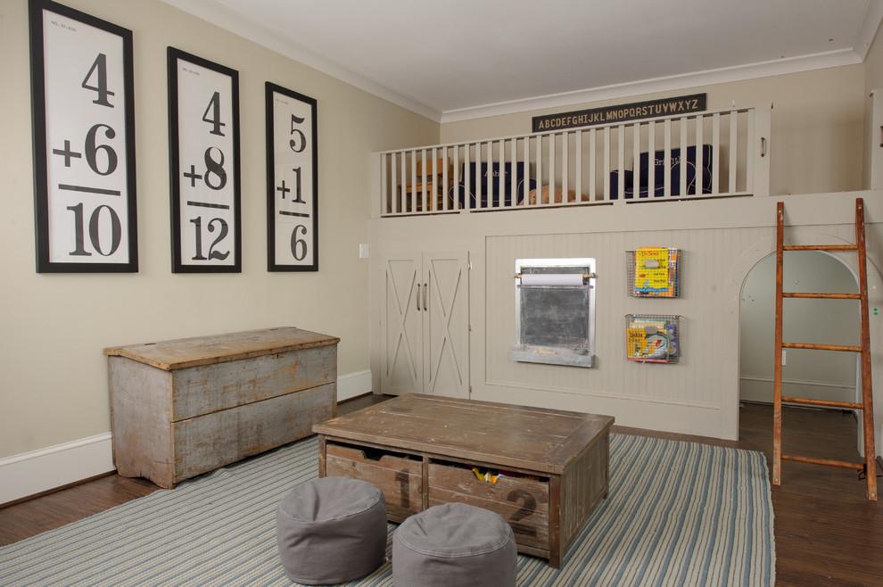 Elegant gender-neutral medium tone wood floor playroom photo in Miami with beige walls