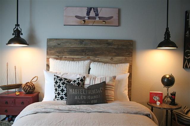 Zack s industrial bedroom Traditional Kids orange