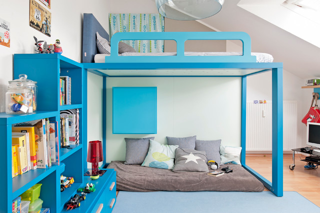 kinderzimmer mit hochbett f r einen jungen contemporary kids dusseldorf by mobimio. Black Bedroom Furniture Sets. Home Design Ideas