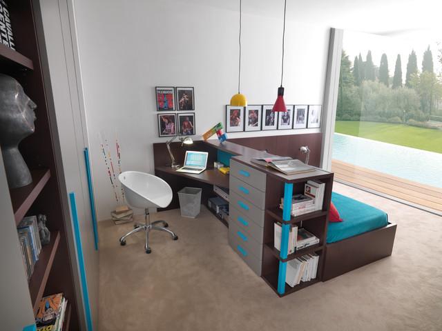 Ideen mit Bett und Schreibtisch als Erweiterung des Betts
