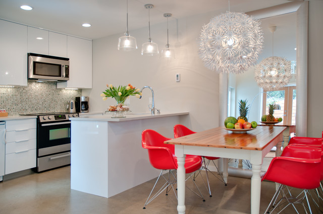 simple kitchen design. Example of a trendy eat in kitchen design Vancouver with mosaic tile  backsplash Simple Kitchen Designs Houzz