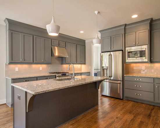 Grey Cabinets Kitchen Design Ideas, Remodels & Photos with Medium Tone