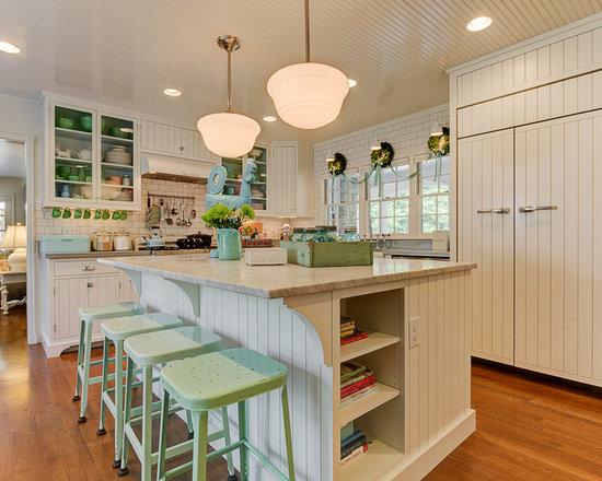 shabby chic style center island in kitchen design ideas