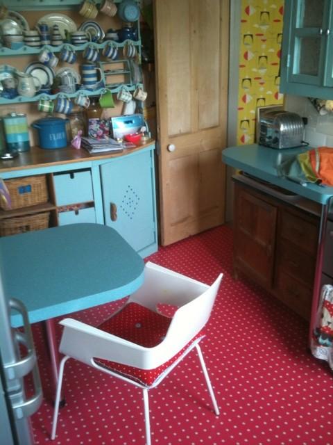 1950s kitchen polka dot floor eclectic kitchen for 1950s kitchen floor