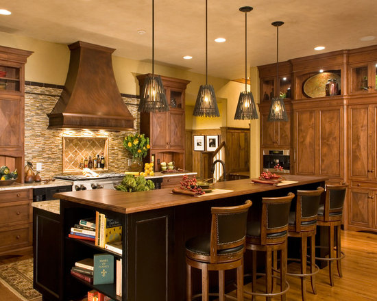 ... wood countertop Kitchen Design Photos with Recessed-Panel Cabinets