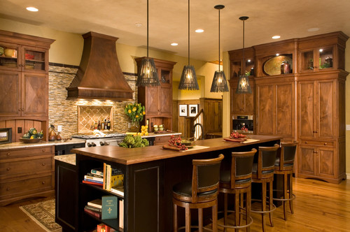 What is the brandstylemanufacturer of the pendant lights  : traditional kitchen from www.houzz.com size 500 x 332 jpeg 72kB