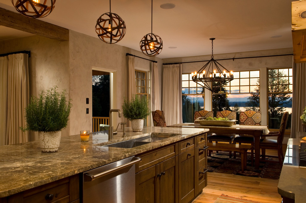 Kitchen - rustic kitchen idea in New York with stainless steel appliances