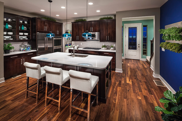 Contemporary Kitchen Inspiration   Example Of A Trendy Brown Floor Kitchen  Design In Denver With An