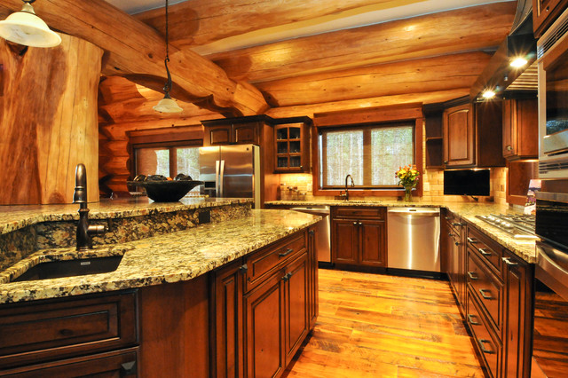 2013 Parade Home Moose Ridge Cabin Log Home Rustic Kitchen