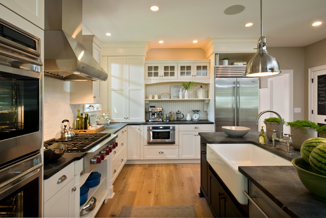 Transitional L Shaped Kitchen Photo In Boston With A Farmhouse Sink, Shaker  Cabinets,