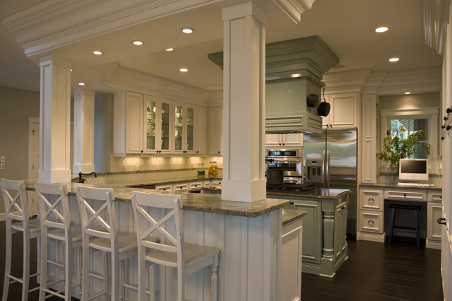 21st century bungalow traditional kitchen other by - Kitchen island with post ...