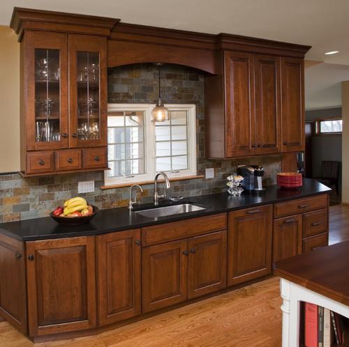 Multi Colored Brown Granite With Multicolored Back Splash Kitchen Design