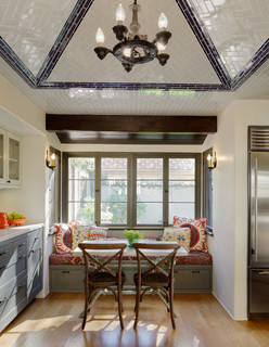 Kitchen Eating Area with Subway Tile on Ceiling in a Herringbone Pattern