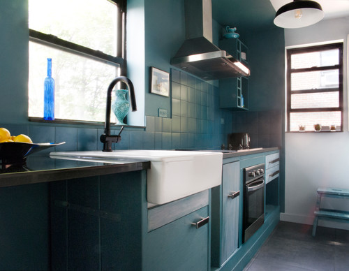 Eclectic New York kitchen featuring kitchen color trends