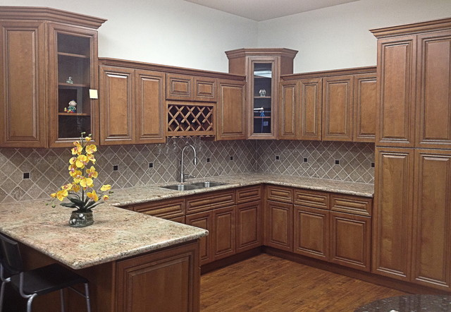 2Y model Coffee Glazed Maple kitchen display - Traditional - Kitchen - San Francisco - by Glenn ...