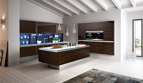 3-layered walnut and lacquered glass modern handleless kitchen by Zeyko
