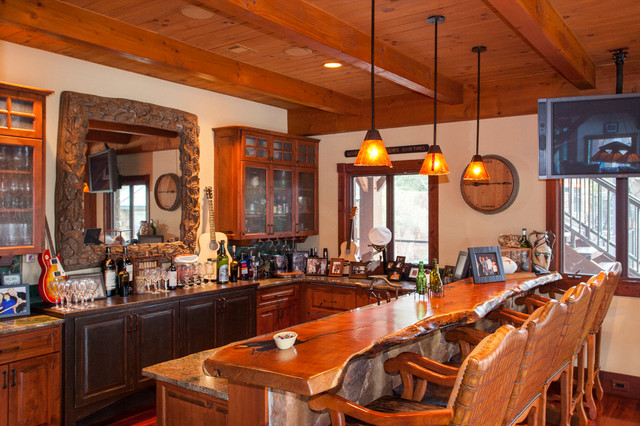 3 Story Full Timber Frame traditional-kitchen