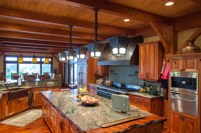 3 Story Full Timber Frame Traditional Kitchen Austin