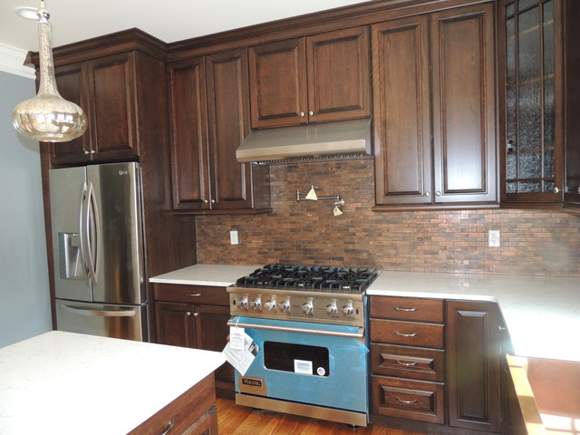 Walnut on cherry cabinets with cambria torquay countertops for Cambrian kitchen cabinets
