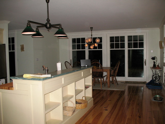 4-Light Kitchen Island Light with Green Cased Shades traditional-kitchen