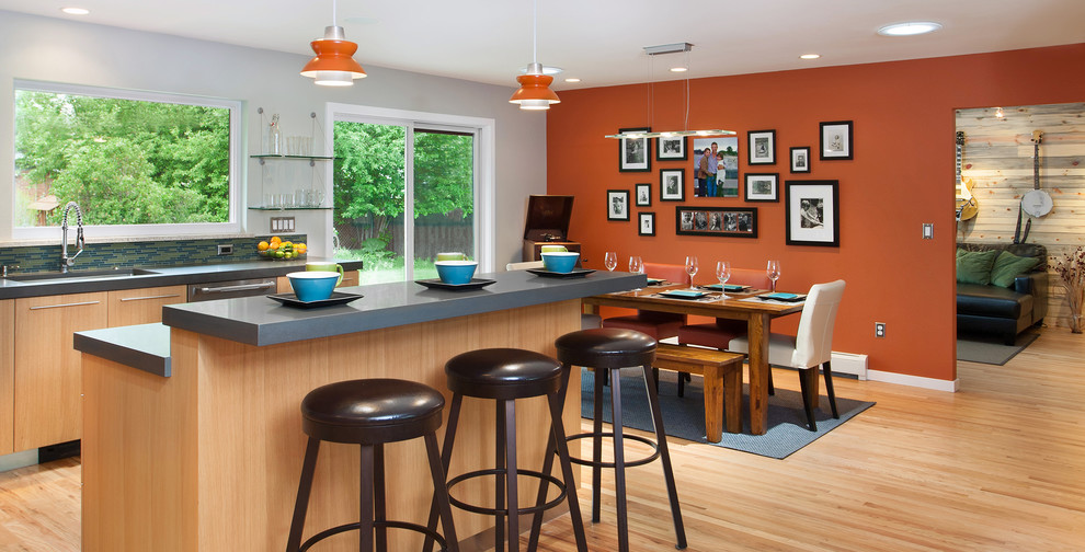 Example of a trendy eat-in kitchen design in Denver with an undermount sink
