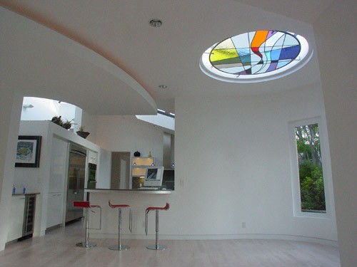 6'(d) skylight and stain glass over the breakfast nook contemporary-kitchen