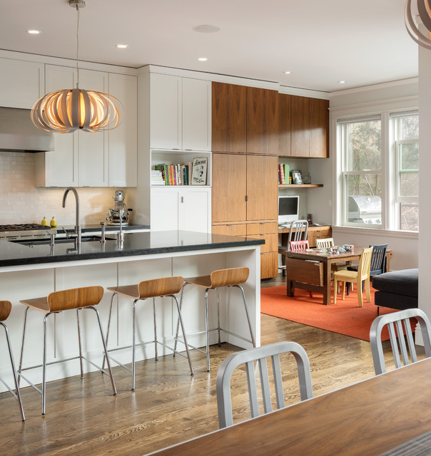 Inspiration for a contemporary eat-in kitchen remodel in San Francisco with an undermount sink, shaker cabinets, white cabinets and white backsplash